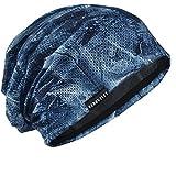 [FORBUSITE]ニット帽 おおきいサイズ メンズ ワッチキャップ 蒸れにくい 薄手 オールシーズン803 (羽毛柄-ブルー)
