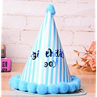 HuaQingPiJu-JP 誕生日パーティー用品垂直バーコーン帽子リトルソフトボールCap_Blue