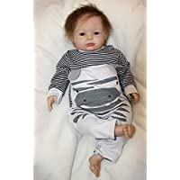 Pursue Baby Soft Silicone Vinyl Real Life Weighted Baby Doll Jacob, 20 Inch Lifelike Newborn Baby Infant Doll with Pacifier Children Gift [並行輸入品]