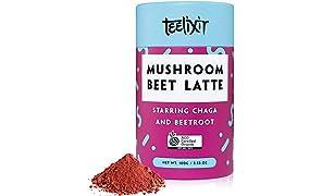 Teelixir Mushroom Beet Latte (100 g) Certified Organic Beetroot Juice Powder Superfood Blend with Wild Chaga Mushroom Extract and Raw Cacao - Vegan Friendly, Paleo, Gluten Free, Unsweetened, Non GMO - Natural Detox, Antioxidant & Energy Boost
