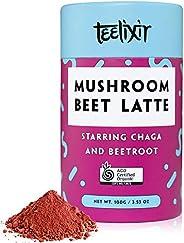 Teelixir Mushroom Beet Latte (100 g) Certified Organic Beetroot Juice Powder Superfood Blend with Wild Chaga M