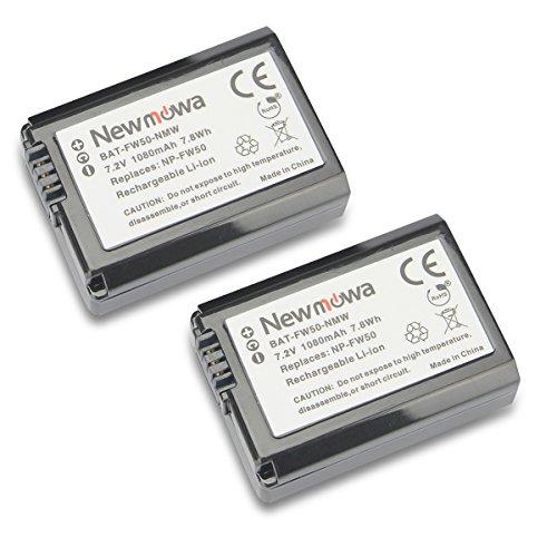Newmowa NP-FW50 互換 バッテリー 2個 対応機種 Alpha a3000 Alpha a5000 Alpha a6000 a6300 a6500 Alpha 7 a7 Alpha 7R a7R Alpha 7S a7S NEX-3 NEX-3N NEX-5 NEX-5N NEX-5R NEX-5T NEX-6 NEX-7 NEX-C3 NEX-F3 SLT-A33 SLT-A35 SLT-A37 SLT-A55V Cyber-shot DSC-RX10