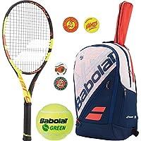 Babolat Pure Aero Decima French Open Tennis Racquetキットまたはセットバンドルwith aラケットバッグ、Roland GarrosテーマDampenerとのCanボール