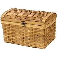 ウッドチップ製 宝箱型 収納ボックス Lサイズ/トレジャーボックス/バスケットのカラー:toast