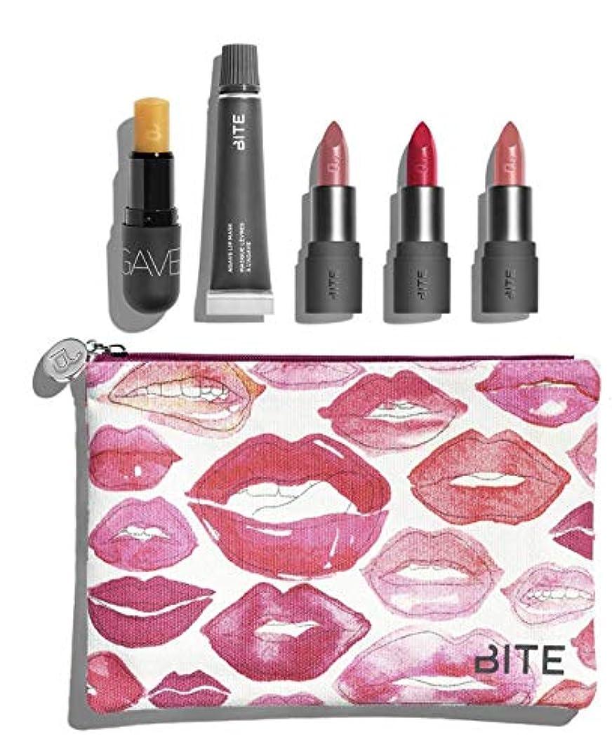 粘性の餌含めるバイト ビューティー リップセット ポーチ付き Bite Beauty Kiss 'N Fly Lip Care & Lipstick Set マスカラ アイライナー アイブロー メイクアップ