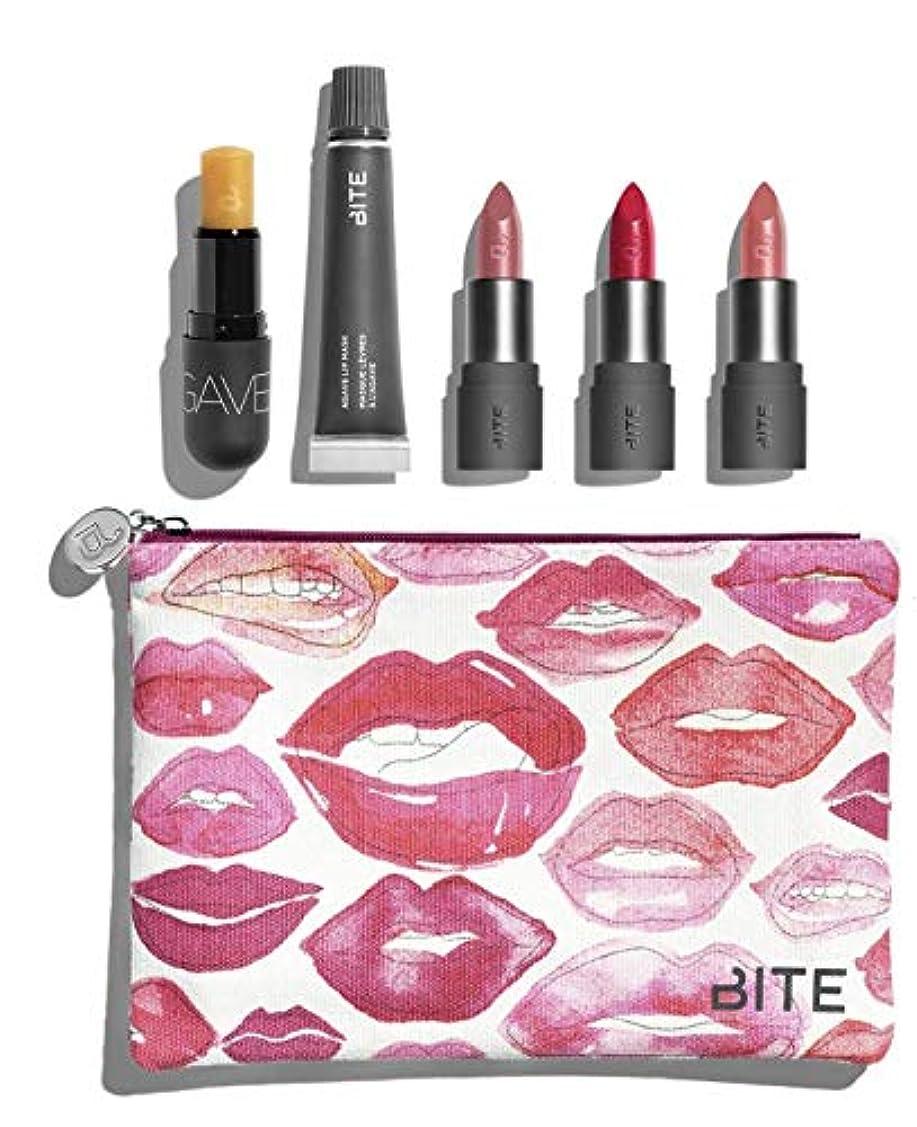 珍しい発表する枯れるバイト ビューティー リップセット ポーチ付き Bite Beauty Kiss 'N Fly Lip Care & Lipstick Set マスカラ アイライナー アイブロー メイクアップ