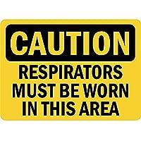 注意このエリアでは呼吸用保護具を着用する必要があります 金属板ブリキ看板注意サイン情報サイン金属安全サイン警告サイン表示パネル