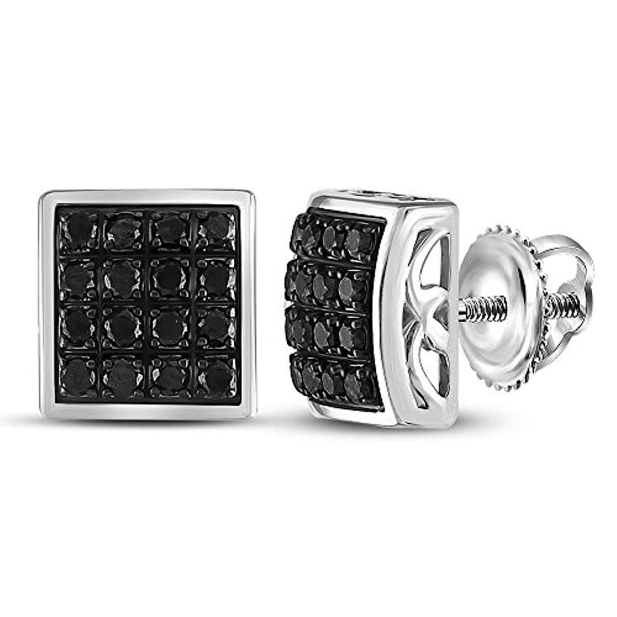 拡声器空白スタッフスターリングシルバー メンズ ラウンドブラックカラー 強化ダイヤモンドスクエアクラスターピアス 5/8 Cttw