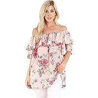 Desert Gems Women's Off Shoulder Top Romantic Ruffle Floral Plus Size