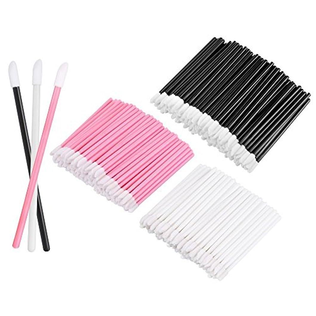雲基本的な内陸KEDSUM リップブラシ 使い捨て 300本入り メイクブラシ 化粧用品 化粧筆 化粧ブラシ 携帯用 便利 (3色)