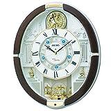 SEIKO CLOCK (セイコークロック) 掛け時計 電波 アナログ からくり 40曲メロディ 回転飾り 茶マーブル模様 RE575B