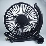 学生は小4インチのファンUSB扇風機ミニファンミュートオフィスのデスクトップの良い大きな風を運びます (色 : ブラック)
