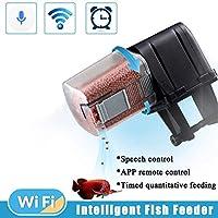 2019ハイエンド WiFi、APP音声制御、USB充電 魚自動給餌器 水族館水槽用 餌やり器 停電保護