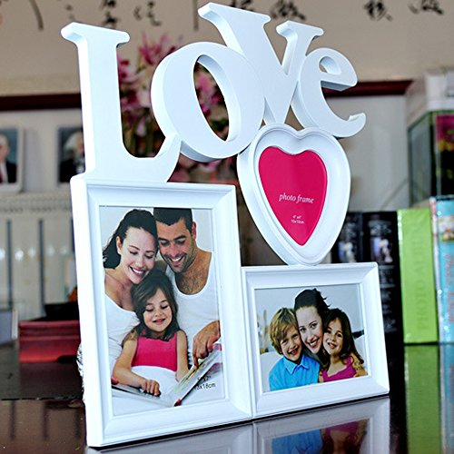【福美康】白い フォトフレーム 3面 恋人 カップル 旅行 新婚 出産 祝い 写真 立て ファミリー ウエディング プレゼント 壁掛け 卓上 3枚 32cm x 36cm