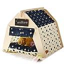 Milkee 犬小屋 ペット テント 猫小屋 ままごと ハウス プレイテント ストライプ柄 小型犬 猫用 室内用 取り外し可能 ティピー ビション 超かわいい おっしゃれ (おまけ:ペット小屋用 黒板 )(L)