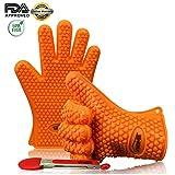 iCasso 5本指クッキンググローブ 掴みやすい手形 男女兼用 左右対称 耐熱温度220℃ 耐冷温度-30℃ 耐熱グローブ BBQバーベキュー 手袋 シリコントング同梱 (オレンジ)
