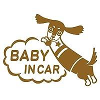 imoninn BABY in car ステッカー 【シンプル版】 No.38 ミニチュアダックスさん (ゴールドメタリック)