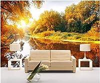 LJJLM 壁紙カスタム写真ゴールデンオータムフォレストリバーサイドビュー家の装飾リビングルーム3d壁壁画壁紙-260X180CM
