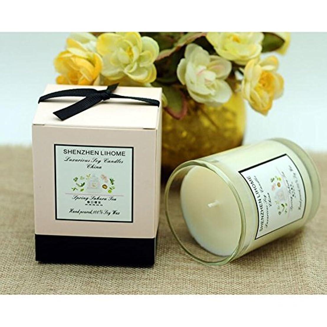 熟した危険なビデオLiebeye キャンドル 大豆ワックス ロマンチックな無煙の香り 香りのティーキャンドル自然 ガラスキャンドル 春の桜の香