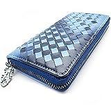 【MIKA&MAYA】 メッシュ 長財布 編み込み ラウンド ファスナー カード ウォレット 財布 (ブルー)