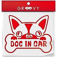 ボストンテリア 愛犬ステッカー dog in car ドッグ イン カー 車用 シルエットシール_1016 (レッド)