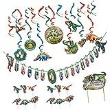 Perfeclan 誕生日パーティー 約44点 恐竜 ハッピーバースデー バナー カップケーキトッパー ぶら下げ装飾