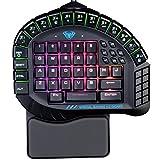AULA エクスカリバー マスター片手用ゲーミングキーボードリムーバブルハンドレストRGBバックライト人間工学的ゲーマーキーボード 黑