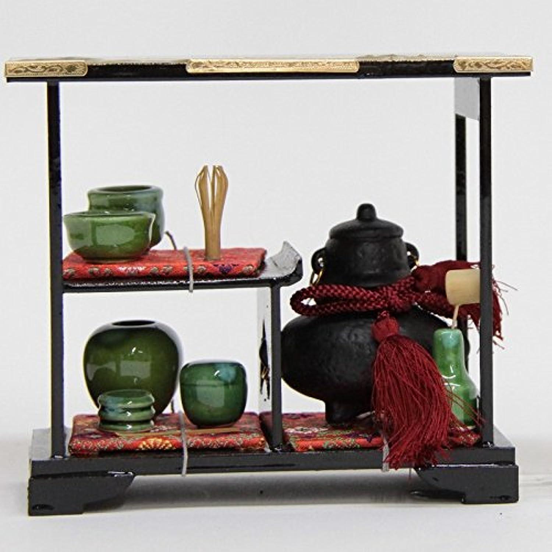 雛道具 アウトレット品 茶箪笥単品 幅20cm 18ya1196 盛上げ金彩山水