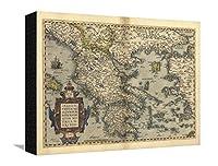 Orteliusのマップのギリシャ、1570ストレッチキャンバスプリントbyの図書館 16 x 12 in