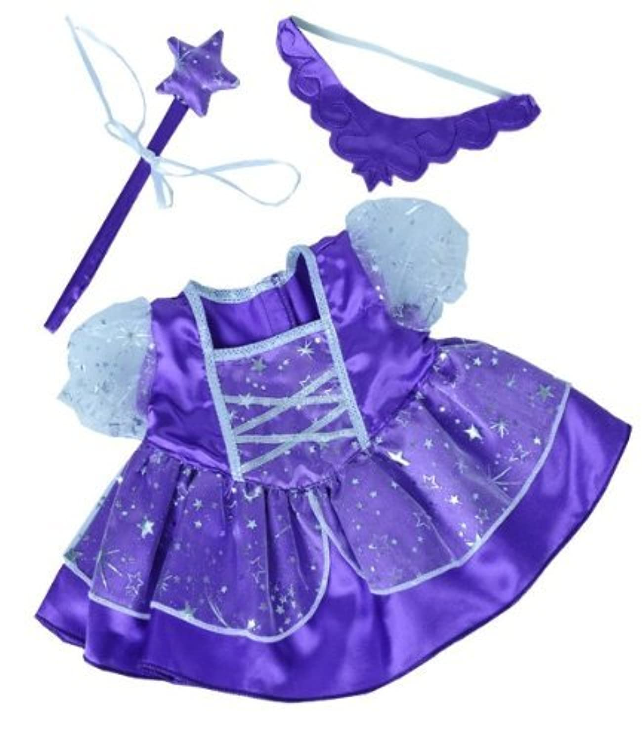 Purple Fairy Princess Dress w/Wand Teddy Bear Clothes Outfit Fits Most 14 - 18 Build-a-bear, Vermont Teddy Bears, and Make Your Own Stuffed Animals by Stuffems Toy Shop