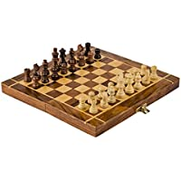 Rusticity Wood Magnetic Chess Set with Folding Board and Chess Pieces Handmade (25cm x 25cm)