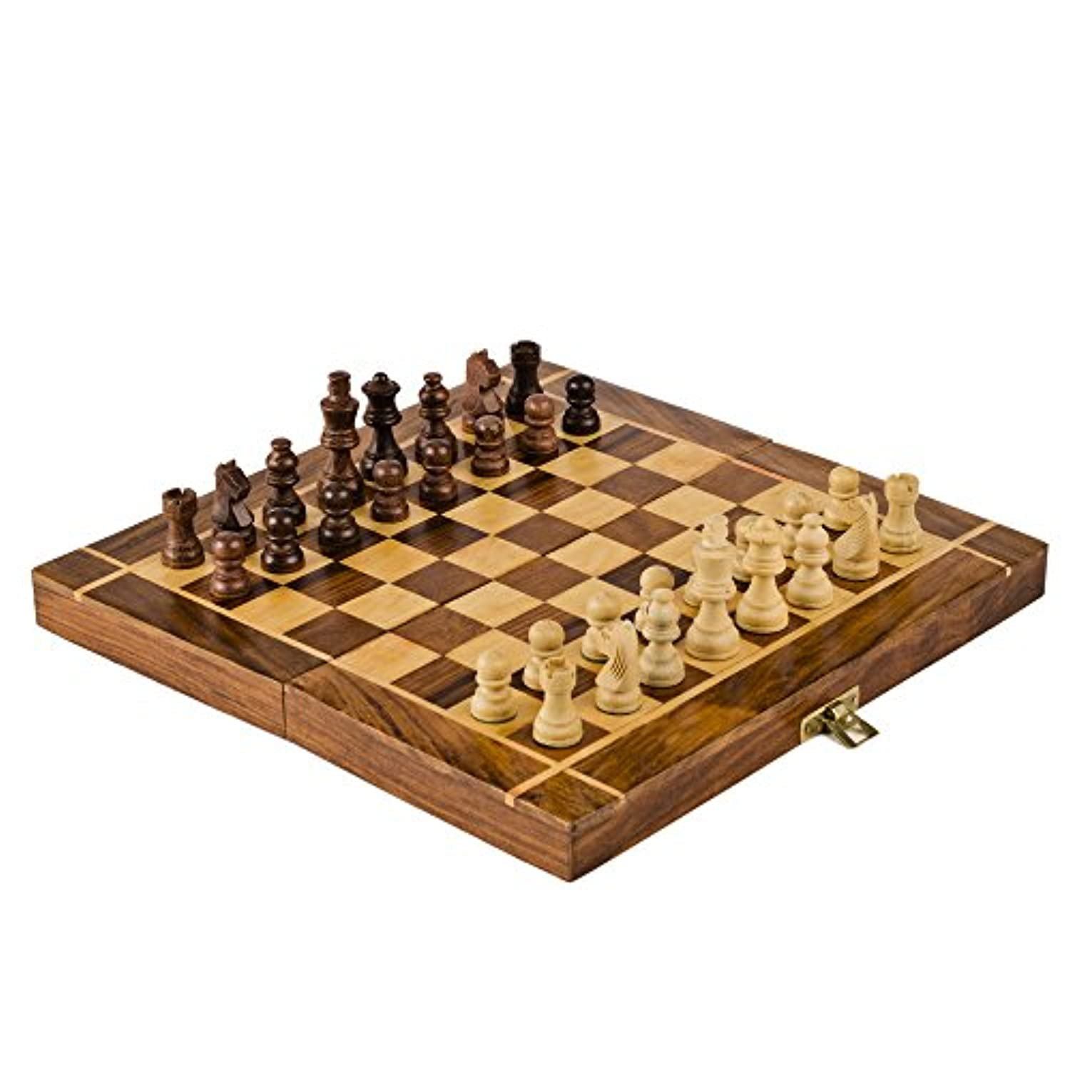 Rusticity Wood Magnetic Chess Set with Folding Board and Chess Pieces Handmade (30cm x 30cm)
