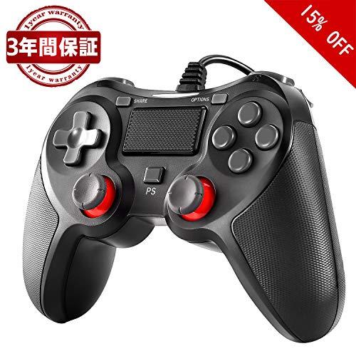 PS4 コントローラー Blitzl PC コントローラー PS4 Pro Slim PS3 Win7 8 10 対応 有線 ゲームパッド 人体工学 二重振動