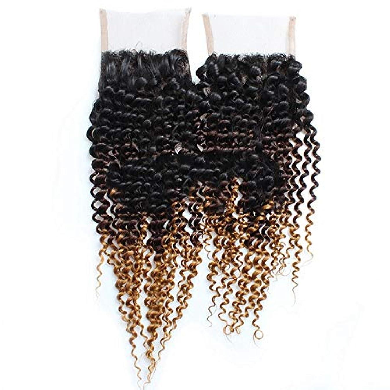 存在する経験的印象派WASAIO ブロンド色の人間の髪本能的ルック3トーンにブラウンの4倍の4レース正面閉鎖ブラック (色 : ブラウン, サイズ : 14 inch)