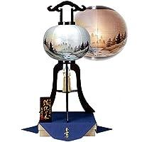 盆提灯 11号 置き型 銘木 鉄刀木 絹二重 高さ85cm 電気コード式 有田焼玉香炉と香袋付属 総桐箱入 日本製 行灯 盆提灯 八女提灯