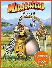 Madagascar Coloring Book: Libro para colorear de Madagascar con Alex el león y Marty la cebra