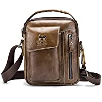 Chest Bag Men Genuine Leather Chest Bag, BULLCAPTAIN Crossbody Shoulder Bag Sling Bags Backpack Messenger Bag Daypack For Business Casual Sport Hiking Travel Brown