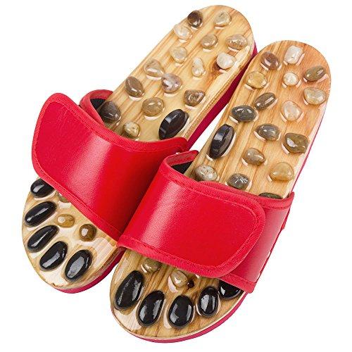 Sorliva 健康 サンダル マッサージ スリッパ 卵円形の石 痛気持ち良い 足つぼ 刺激 マッサージ (24.5-25, レッド)