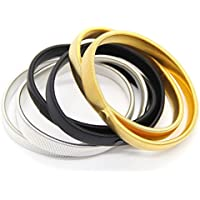 Shirt Sleeve Holders Anti-Slip, 6 PCS Metal Armbands, Stretch Elastic Men's Arm Bracelet, Black, Silver and Gold Clothing Keepers