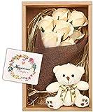 nicoly ソープフラワー 花束 ブーケ テディベア セット プレゼント ギフト お祝い (白)