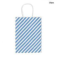 手提げ袋 ギフトバッグ 25枚 ラッピング袋 ストライプ リサイクル可能 紙バッグ 厚手 クリスマス 新年会(赤) (青)