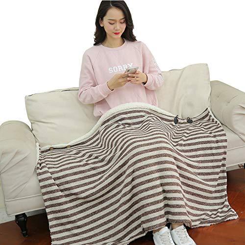 ひざ掛け 膝掛け 3WAY ブランケット 大判 80×135cm 着る毛布 冷房対策 防寒 丸洗い可能