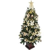 クリスマス屋 クリスマスツリー セット 150cm 木製ポット ツリーセット ゴールド&アイボリー