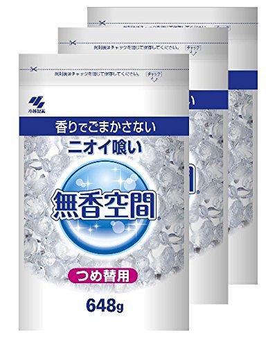 【まとめ買い】無香空間 特大 消臭剤 詰め替え用 無香料 648g×3個