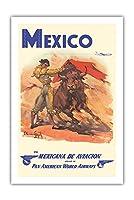 メキシコ - 準メキシカナ航空 - パンアメリカン航空 - 闘牛士 - ビンテージな航空会社のポスター によって作成された カルロス・ルアノ・ロピス c.1950 - プレミアム290gsmジークレーアートプリント - 61cm x 91cm