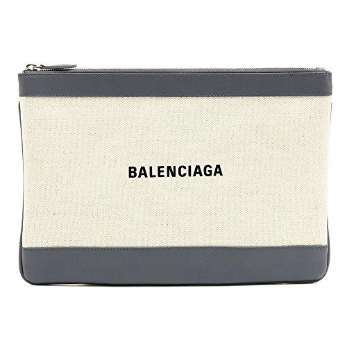 [バレンシアガ] BALENCIAGA クラッチバッグ ポーチ NAVY CLIP M ネイビークリップM 420407 AQ37N 1380/NATUREL*GRIS SOURIS