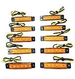 12V 6連 LED ライト サイド マーカー ランプ 10個 セット ホワイト アンバー レッド ブルー グリーン トラック ダンプ カー トレーラー デコトラ 等 カスタム パーツ (アンバー)