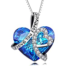 925 Sterling Silver I Love You Forever Love Heart Pendant Necklace with Blue Swarovski Crystals - Valentines Day Gift for Her - Jewelry for Women