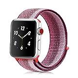 ナイキ ベルクロ Winmy for Apple Watchバンドスポーツループバンド、軽量通気性ナイロン交換バンドApple Watch Nike +、シリーズ1、2シリーズ、シリーズ3、スポーツ、Edition Berry Stripe Win-NLQC-38Berry