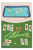 カリフォルニア–Aerialプールシーンand Lawn 12 x 18 Metal Sign LANT-82990-12x18M